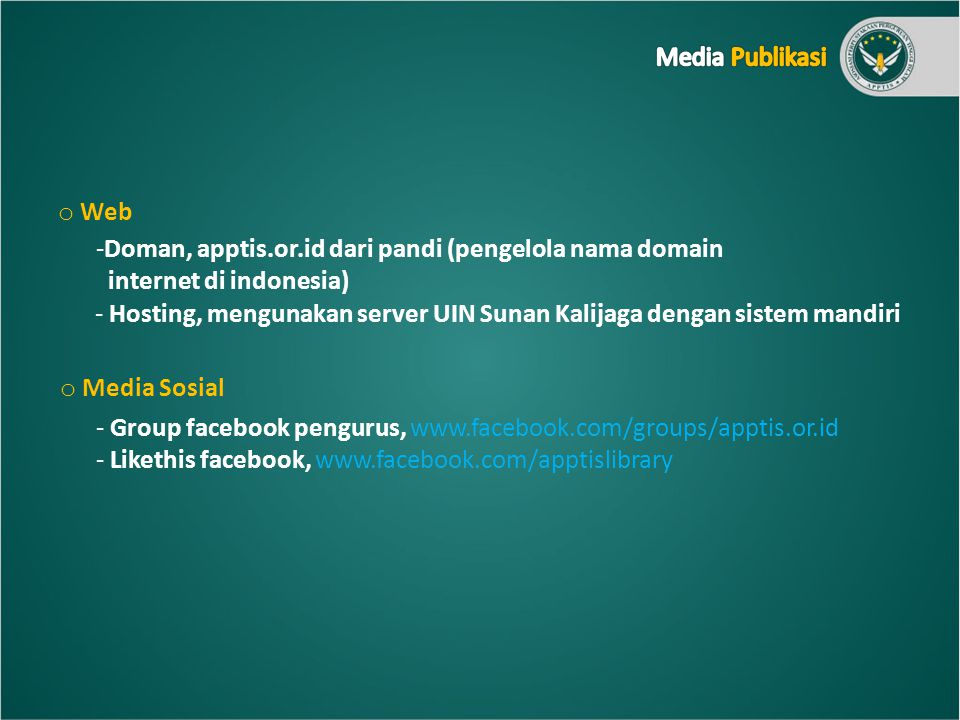 Media Publikasi Web. Doman, apptis.or.id dari pandi (pengelola nama domain. internet di indonesia)