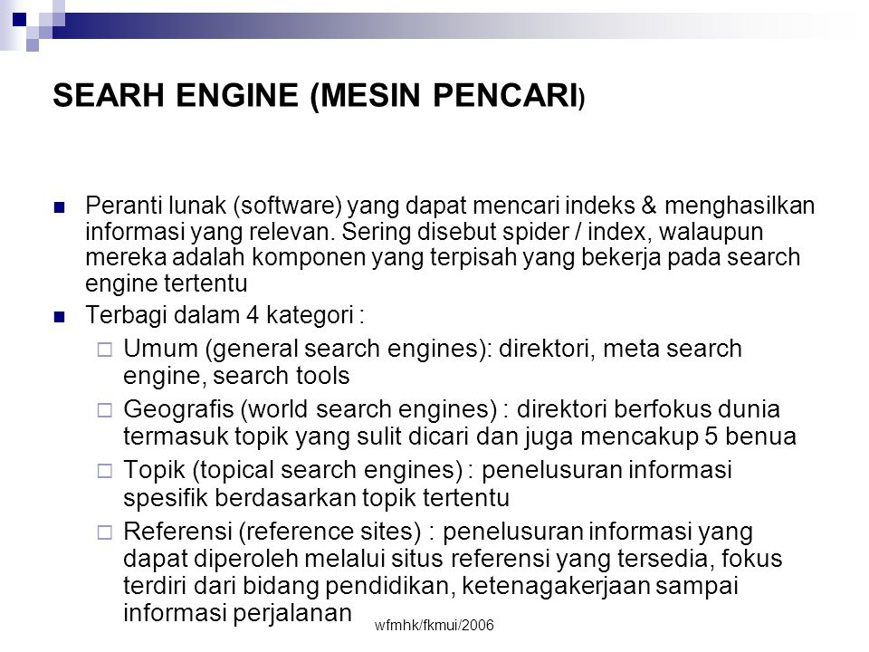 SEARH ENGINE (MESIN PENCARI)
