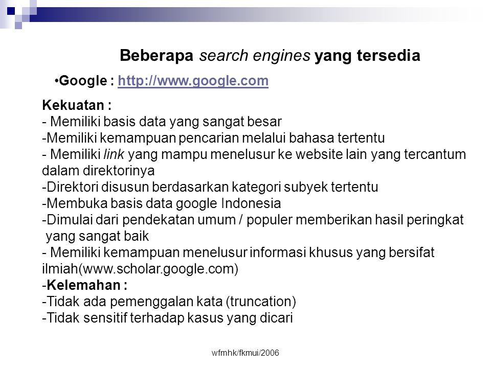 Beberapa search engines yang tersedia
