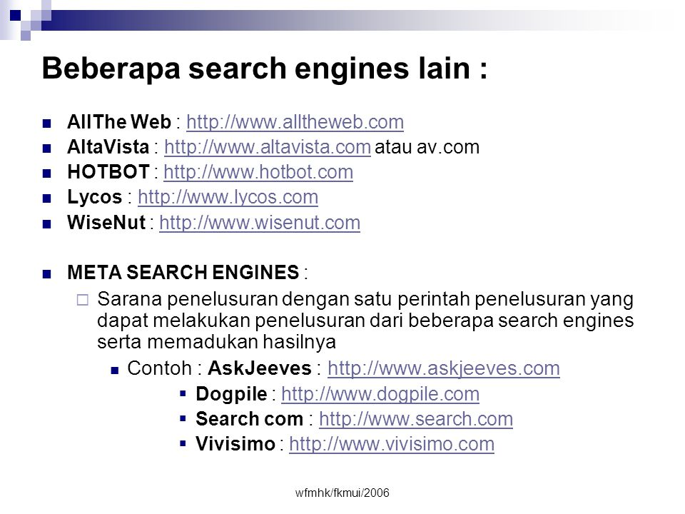 Beberapa search engines lain :