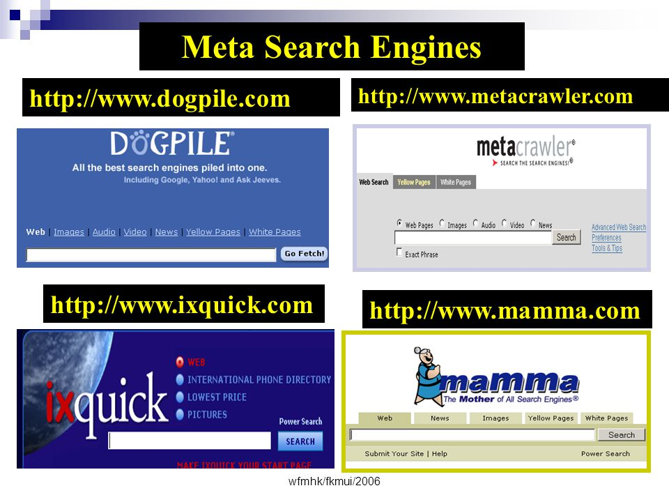Meta Search Engines http://www.dogpile.com http://www.ixquick.com