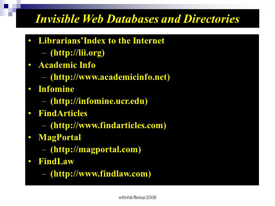 Invisible Web Databases and Directories