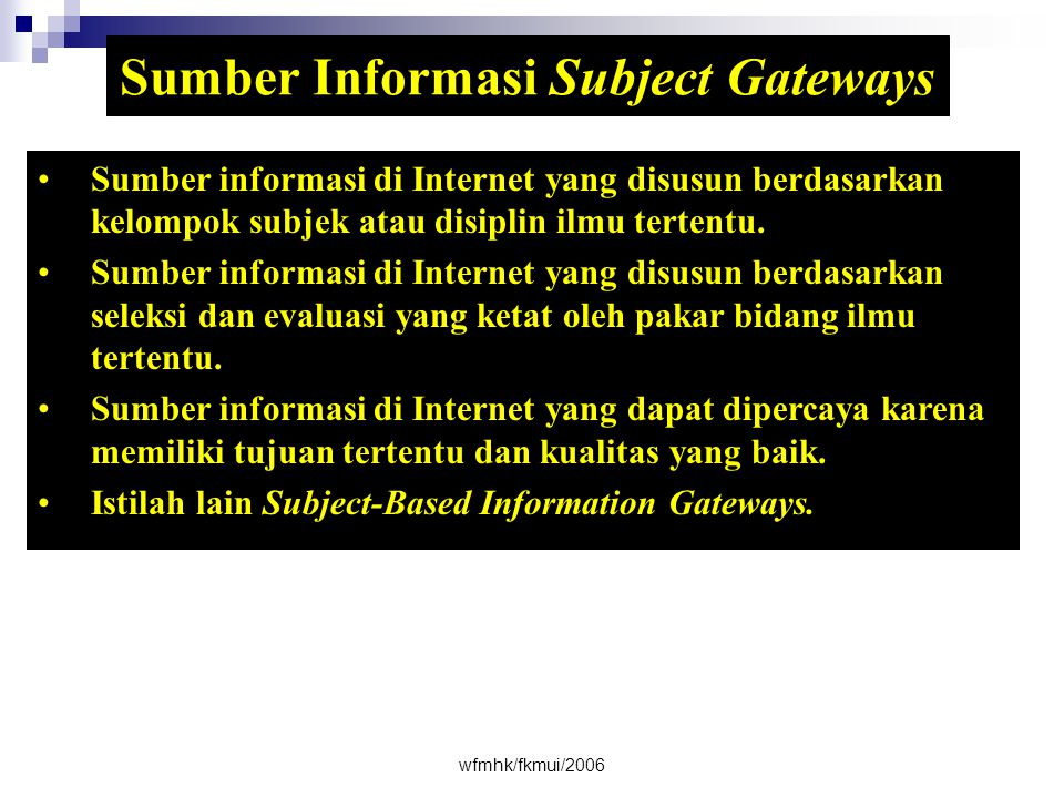 Sumber Informasi Subject Gateways