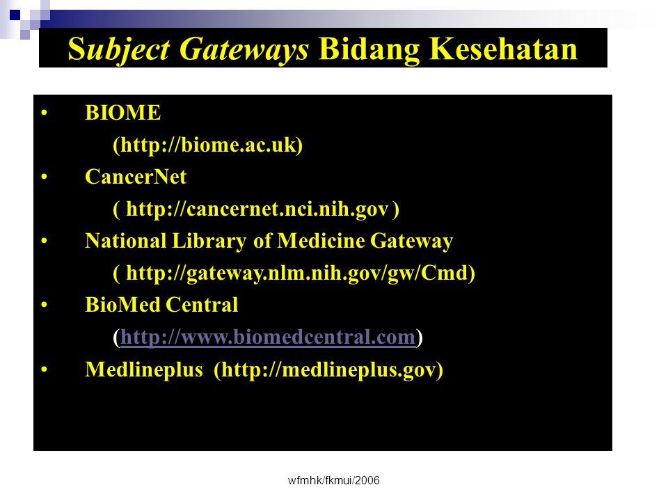 Subject Gateways Bidang Kesehatan