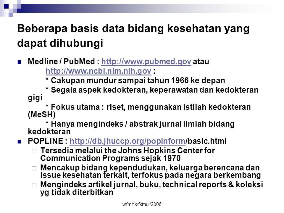 Beberapa basis data bidang kesehatan yang dapat dihubungi
