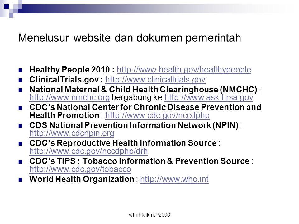 Menelusur website dan dokumen pemerintah