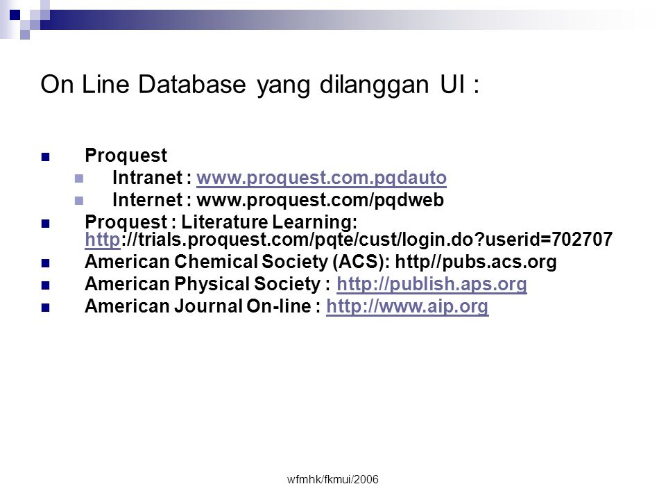 On Line Database yang dilanggan UI :
