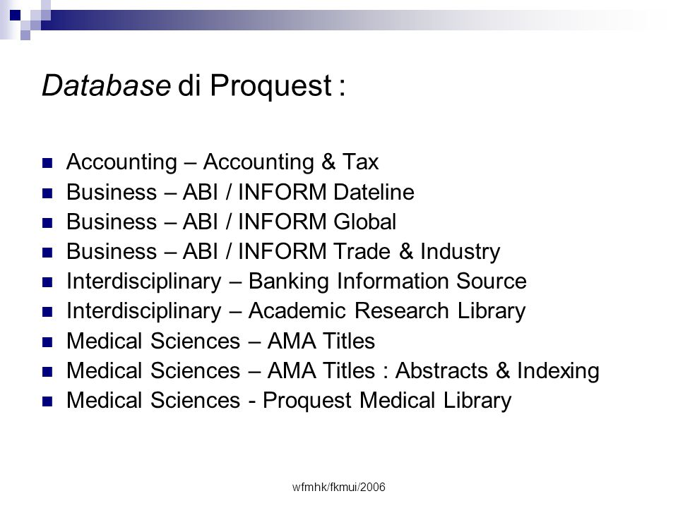 Database di Proquest : Accounting – Accounting & Tax