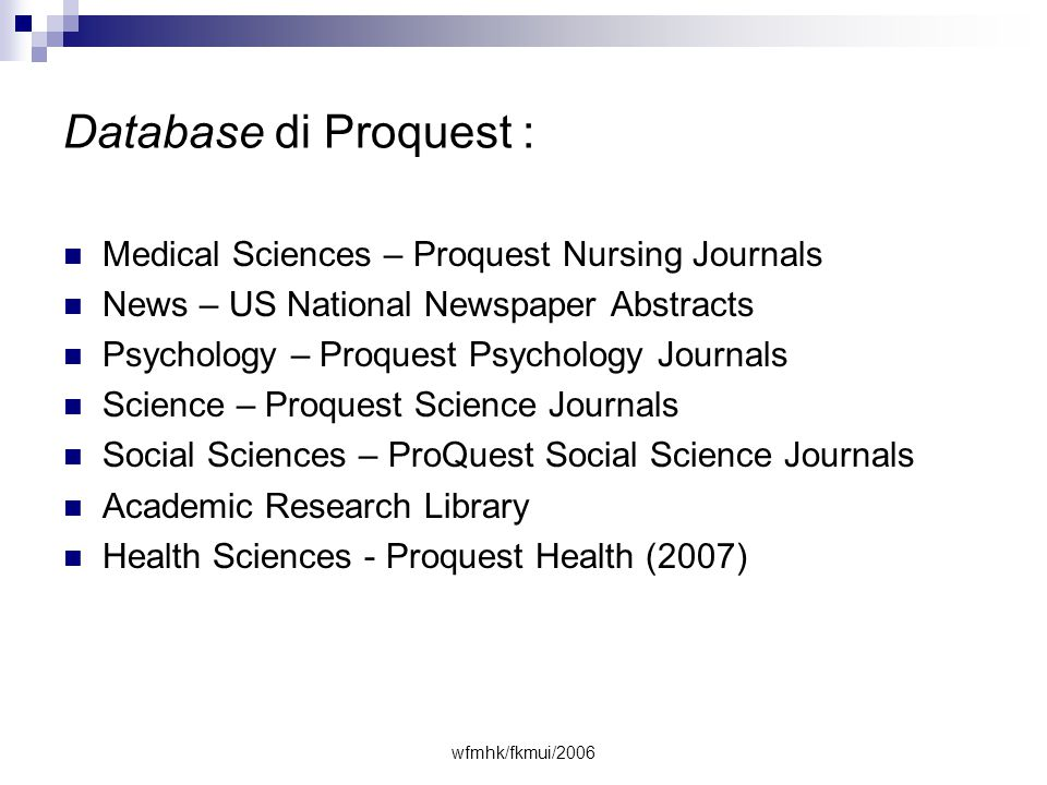 Database di Proquest : Medical Sciences – Proquest Nursing Journals
