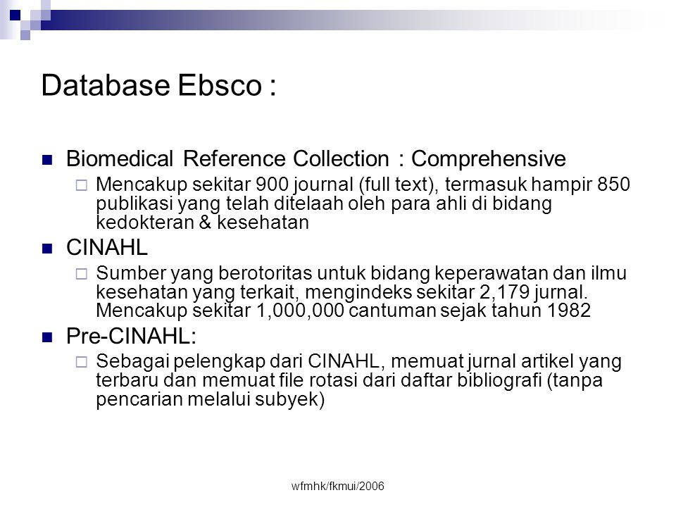 Database Ebsco : Biomedical Reference Collection : Comprehensive