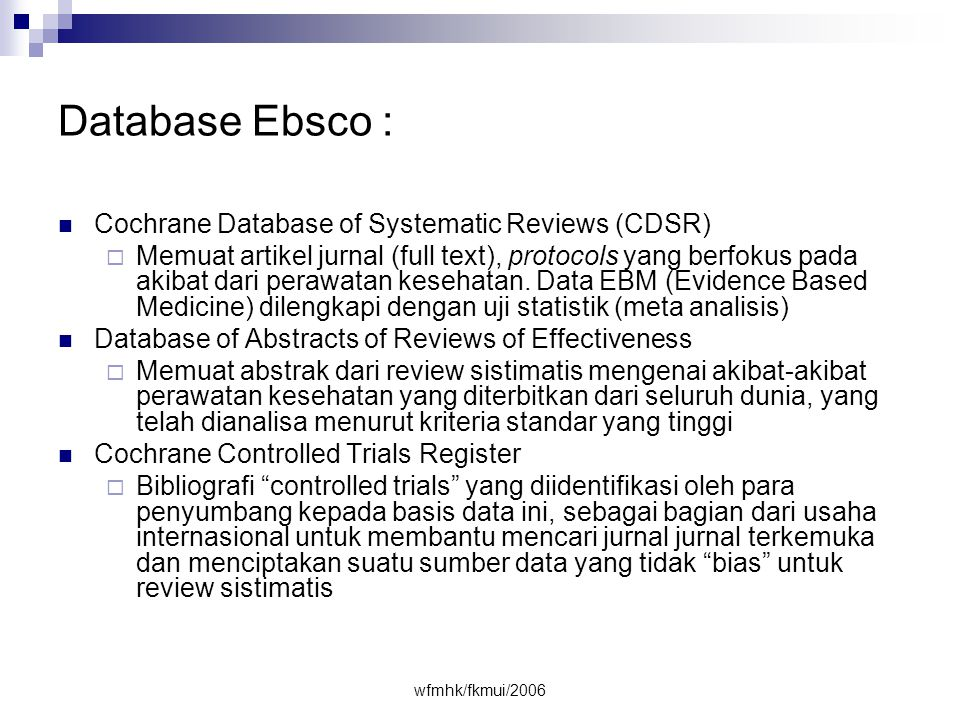 Database Ebsco : Cochrane Database of Systematic Reviews (CDSR)