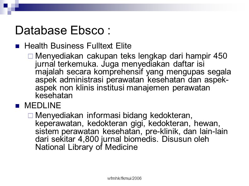 Database Ebsco : Health Business Fulltext Elite
