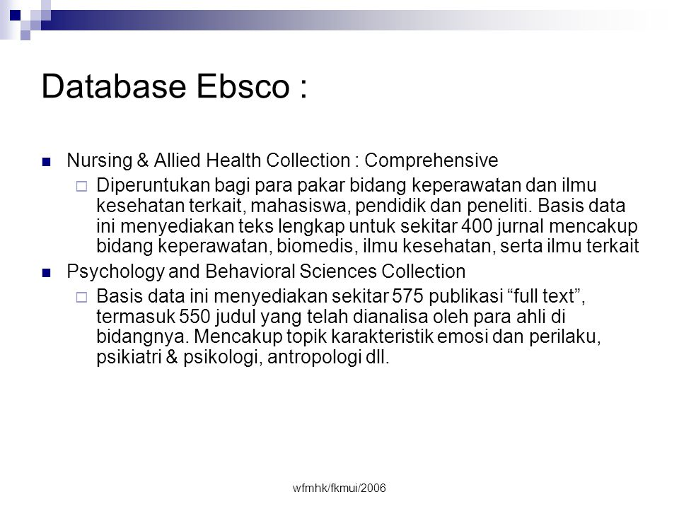 Database Ebsco : Nursing & Allied Health Collection : Comprehensive