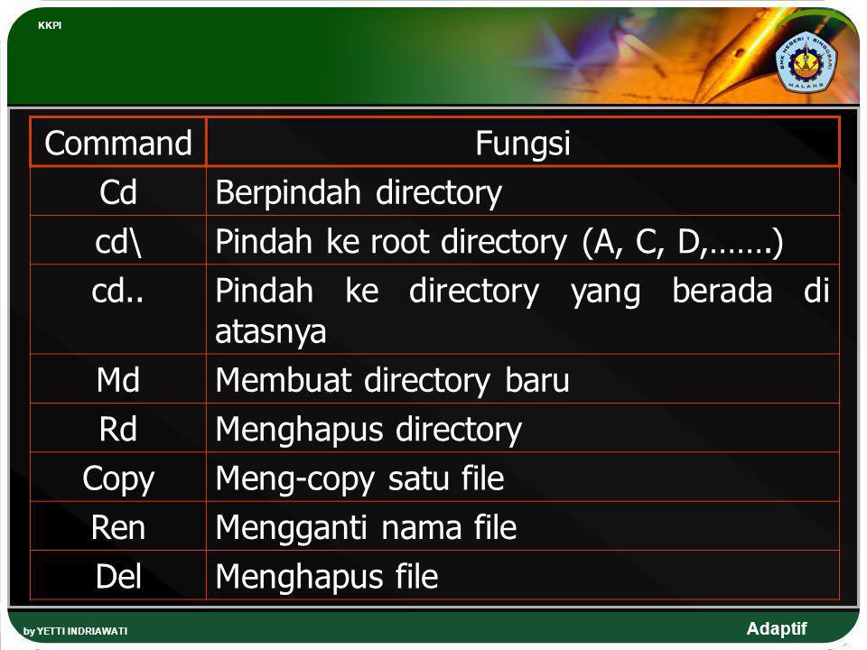 Pindah ke root directory (A, C, D,…….) cd..