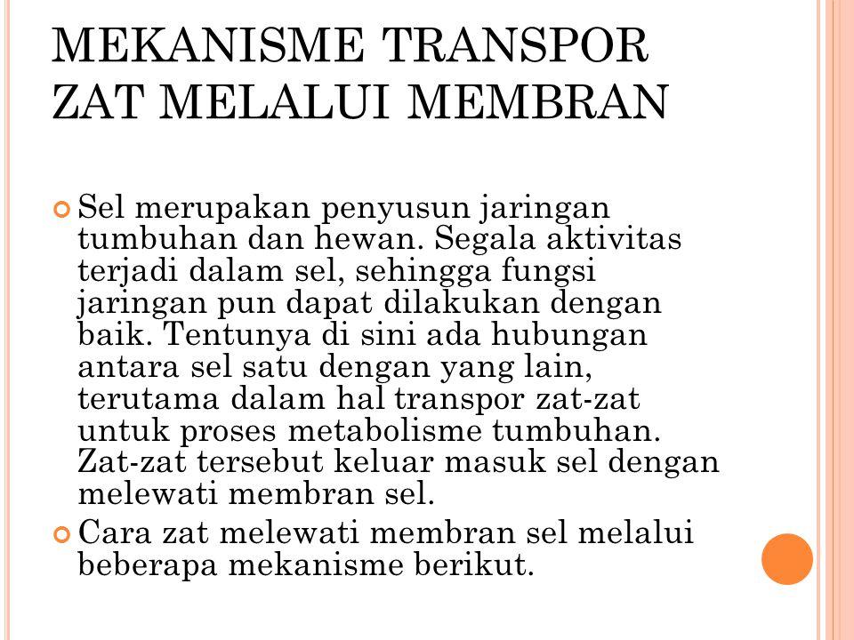 MEKANISME TRANSPOR ZAT MELALUI MEMBRAN