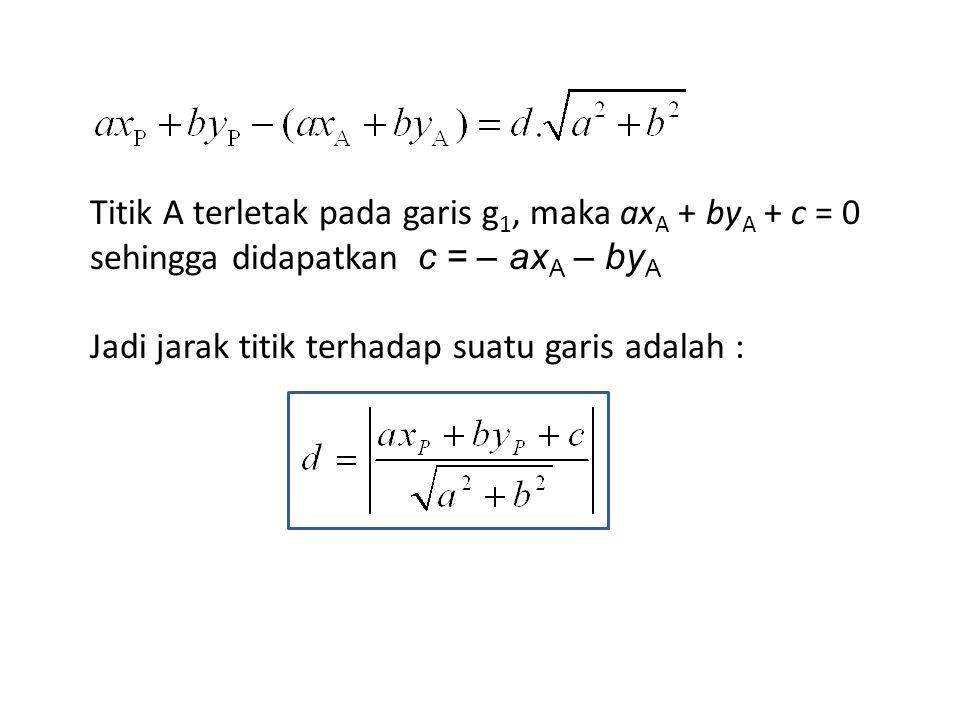Titik A terletak pada garis g1, maka axA + byA + c = 0 sehingga didapatkan c = – axA – byA