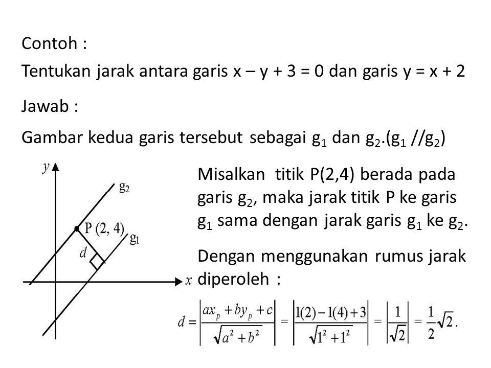 Contoh : Tentukan jarak antara garis x – y + 3 = 0 dan garis y = x + 2. Jawab : Gambar kedua garis tersebut sebagai g1 dan g2.(g1 //g2)