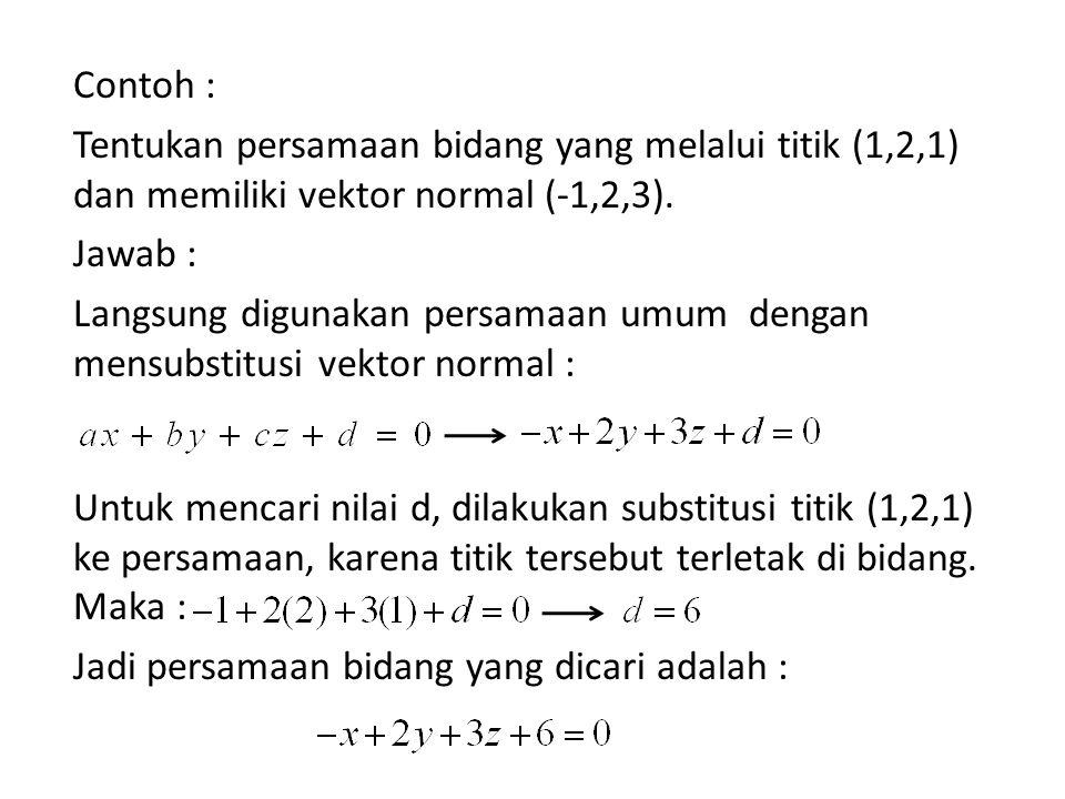 Contoh : Tentukan persamaan bidang yang melalui titik (1,2,1) dan memiliki vektor normal (-1,2,3).