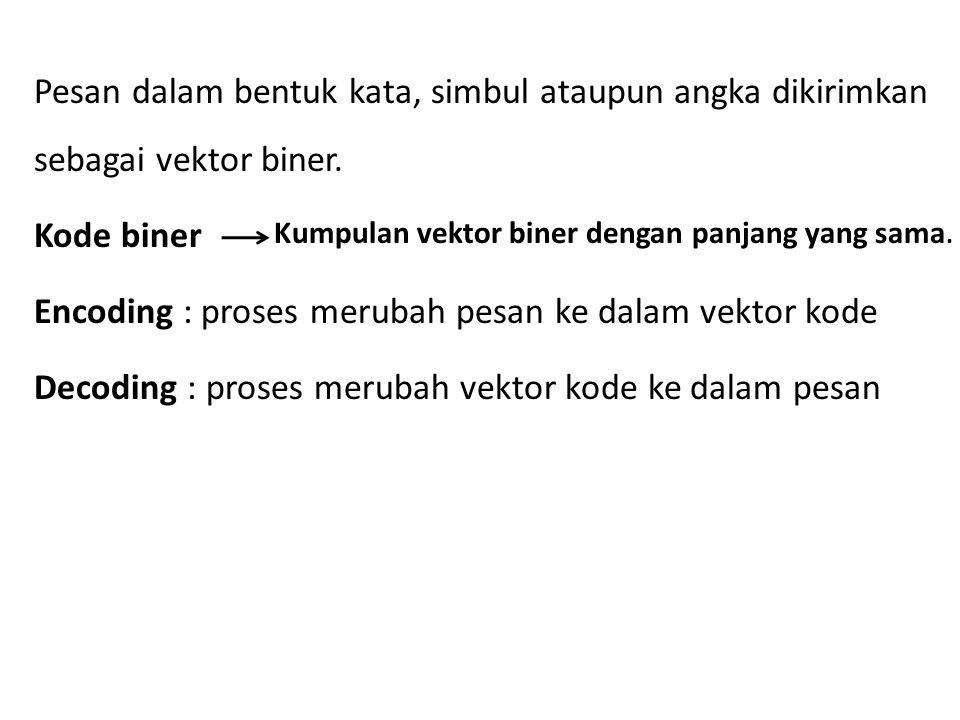 Pesan dalam bentuk kata, simbul ataupun angka dikirimkan sebagai vektor biner. Kode biner Encoding : proses merubah pesan ke dalam vektor kode Decoding : proses merubah vektor kode ke dalam pesan