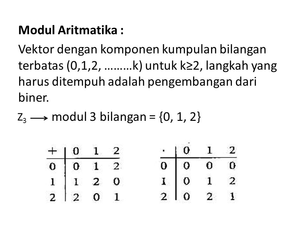 Modul Aritmatika : Vektor dengan komponen kumpulan bilangan terbatas (0,1,2, ………k) untuk k≥2, langkah yang harus ditempuh adalah pengembangan dari biner. modul 3 bilangan = {0, 1, 2}