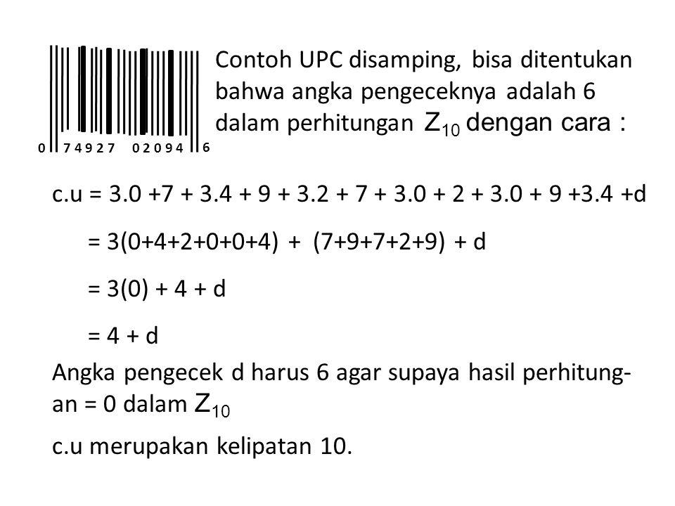 Angka pengecek d harus 6 agar supaya hasil perhitung-an = 0 dalam Z10