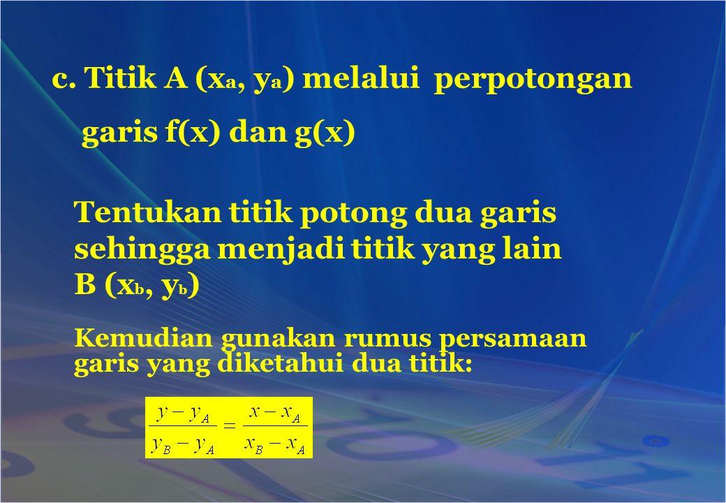 c. Titik A (xa, ya) melalui perpotongan garis f(x) dan g(x)