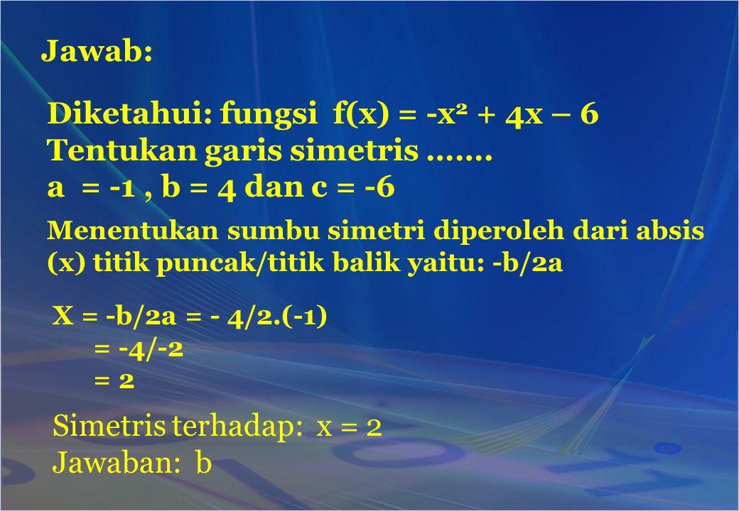 Diketahui: fungsi f(x) = -x2 + 4x – 6 Tentukan garis simetris …….