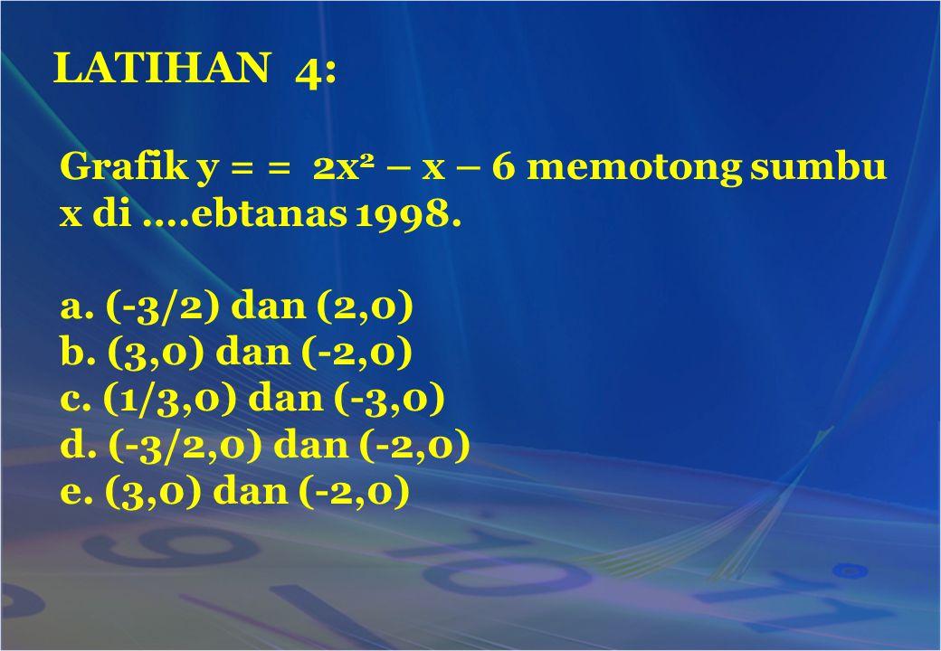 LATIHAN 4: Grafik y = = 2x2 – x – 6 memotong sumbu x di ….ebtanas 1998. a. (-3/2) dan (2,0) b. (3,0) dan (-2,0)