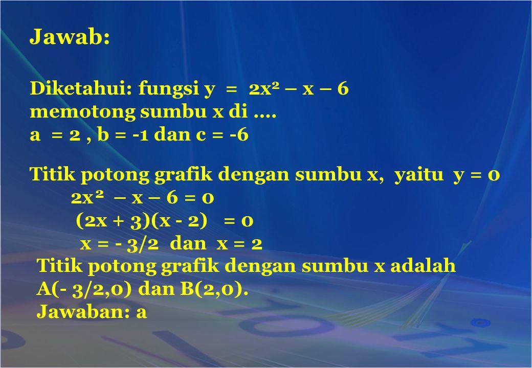 Jawab: 2 Diketahui: fungsi y = 2x2 – x – 6 memotong sumbu x di ….