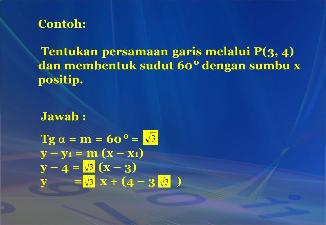 Contoh: Tentukan persamaan garis melalui P(3, 4) dan membentuk sudut 60 dengan sumbu x positip. o.