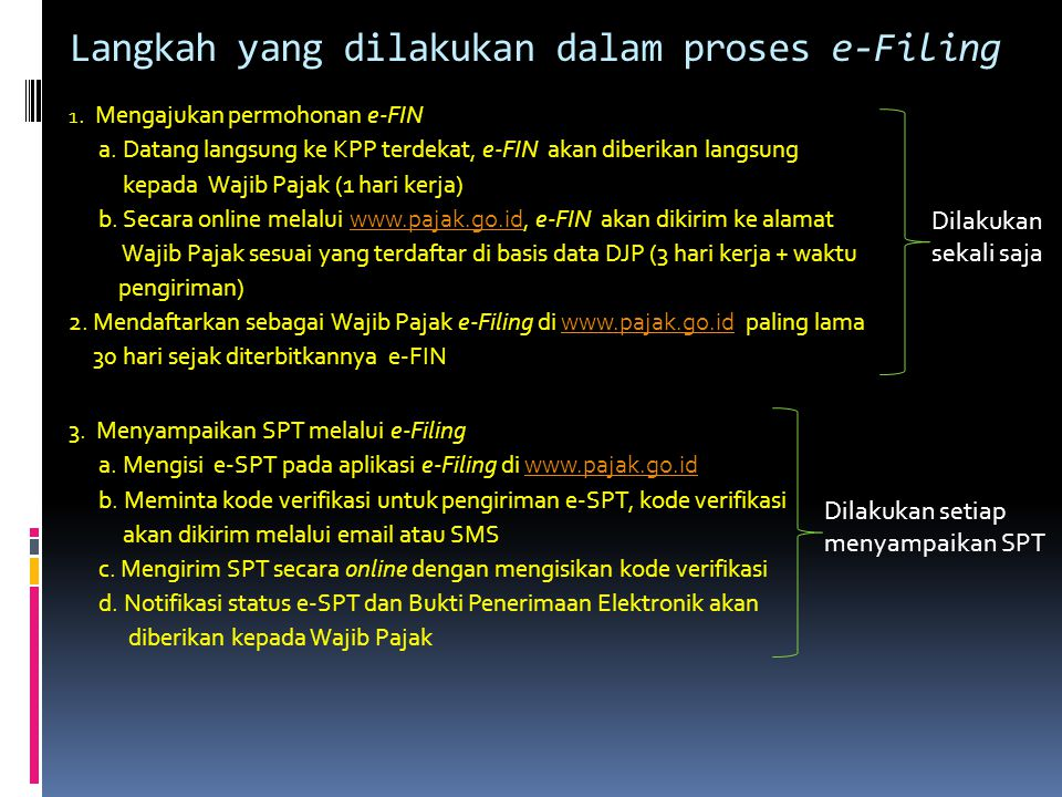Langkah yang dilakukan dalam proses e-Filing