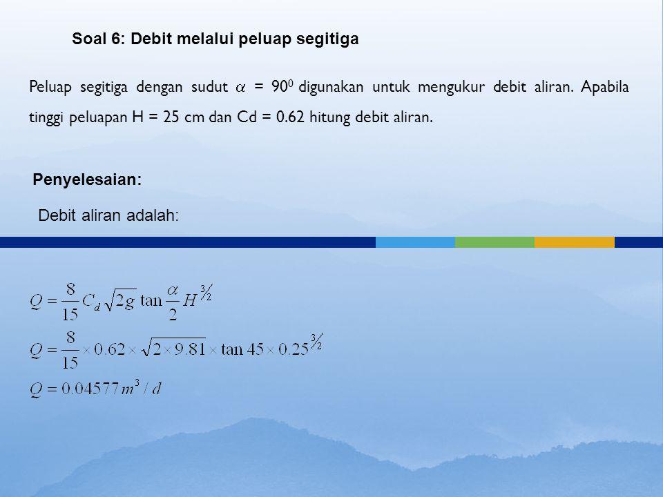 Soal 6: Debit melalui peluap segitiga