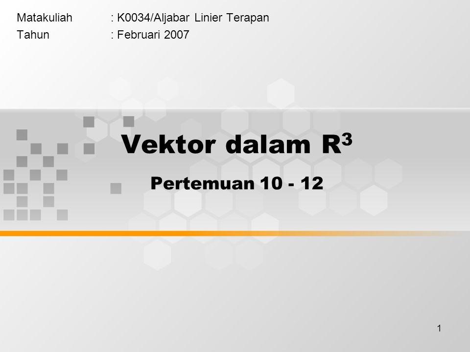 Vektor dalam R3 Pertemuan 10 - 12