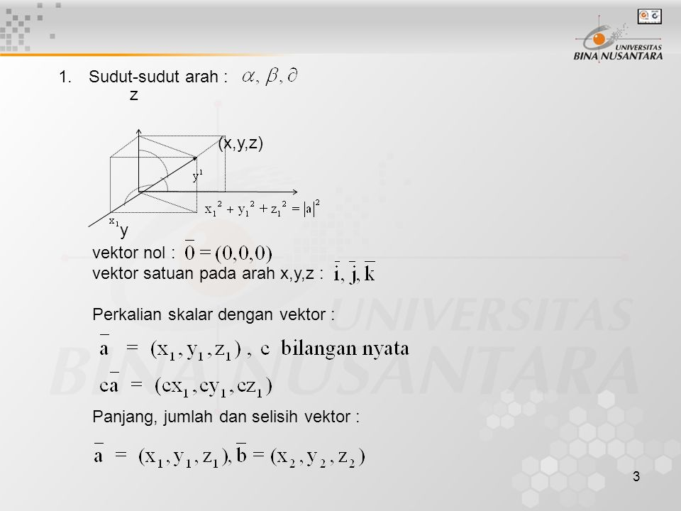 Sudut-sudut arah : z. (x,y,z) y. vektor nol : vektor satuan pada arah x,y,z : Perkalian skalar dengan vektor :
