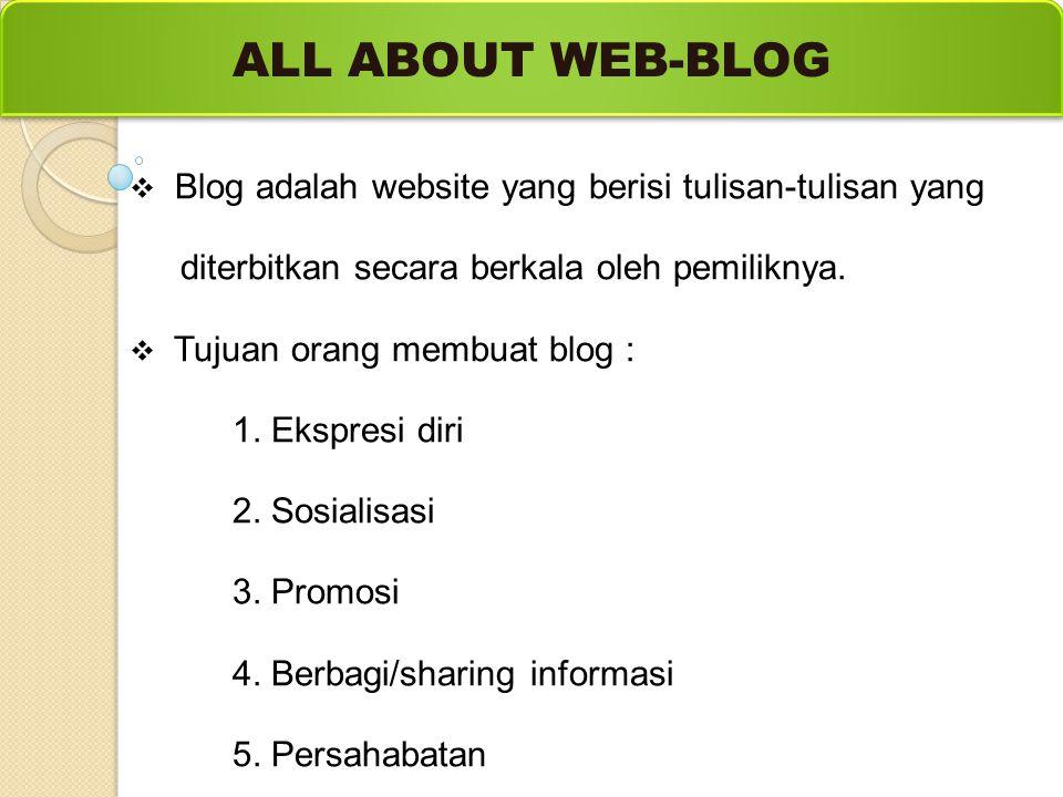 ALL ABOUT WEB-BLOG Blog adalah website yang berisi tulisan-tulisan yang. diterbitkan secara berkala oleh pemiliknya.