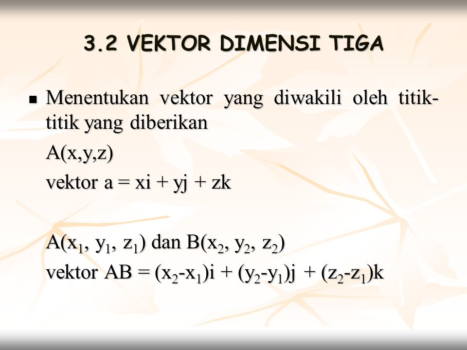 3.2 VEKTOR DIMENSI TIGA Menentukan vektor yang diwakili oleh titik-titik yang diberikan. A(x,y,z) vektor a = xi + yj + zk.