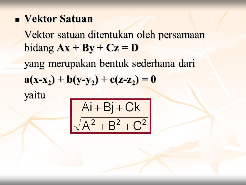 yang merupakan bentuk sederhana dari a(x-x2) + b(y-y2) + c(z-z2) = 0