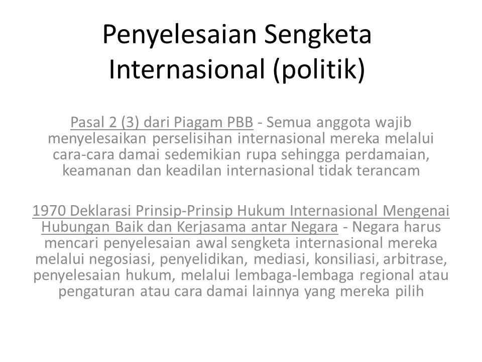 Penyelesaian Sengketa Internasional (politik)