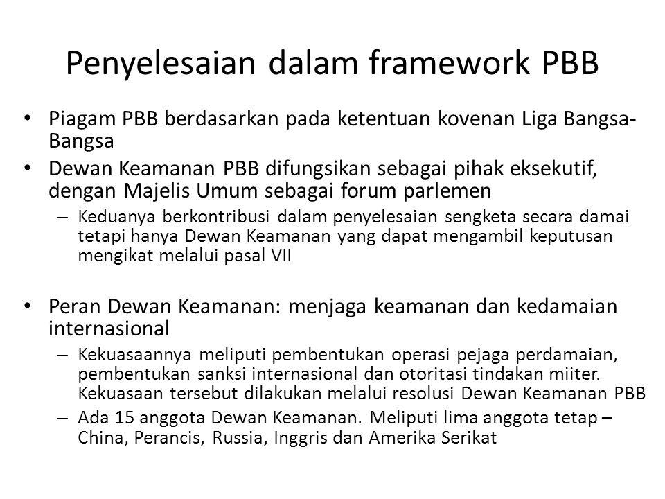 Penyelesaian dalam framework PBB
