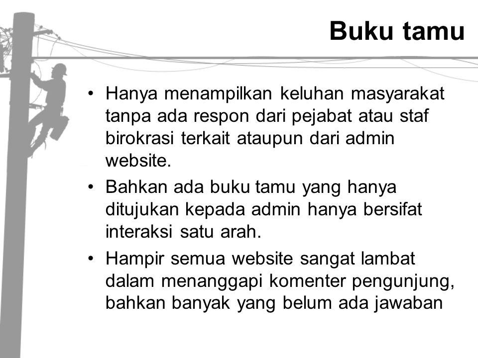 Buku tamu Hanya menampilkan keluhan masyarakat tanpa ada respon dari pejabat atau staf birokrasi terkait ataupun dari admin website.