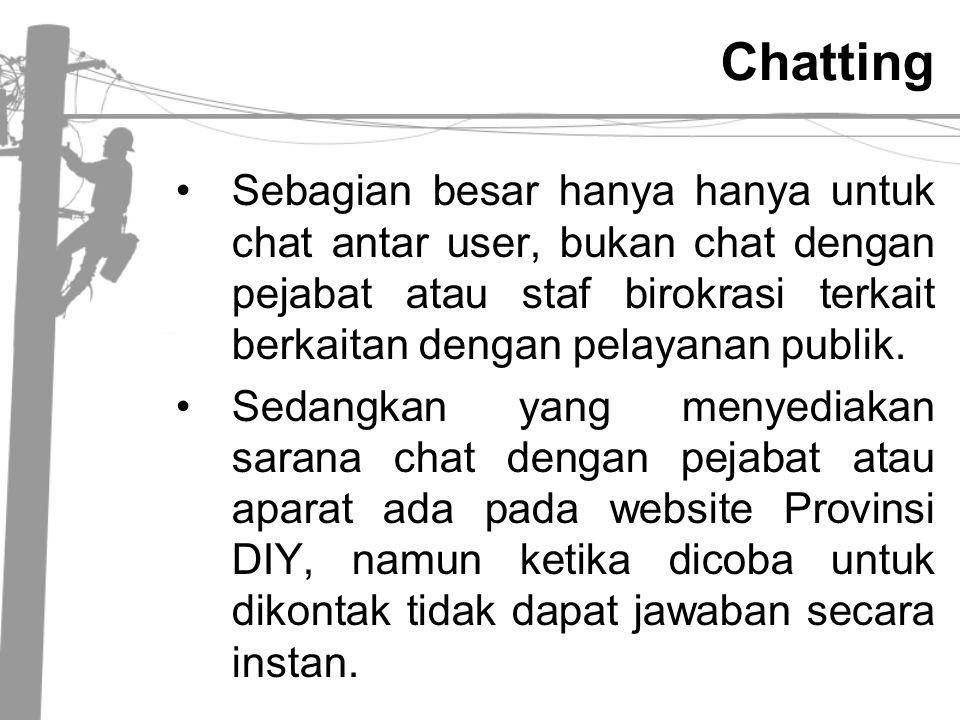 Chatting Sebagian besar hanya hanya untuk chat antar user, bukan chat dengan pejabat atau staf birokrasi terkait berkaitan dengan pelayanan publik.