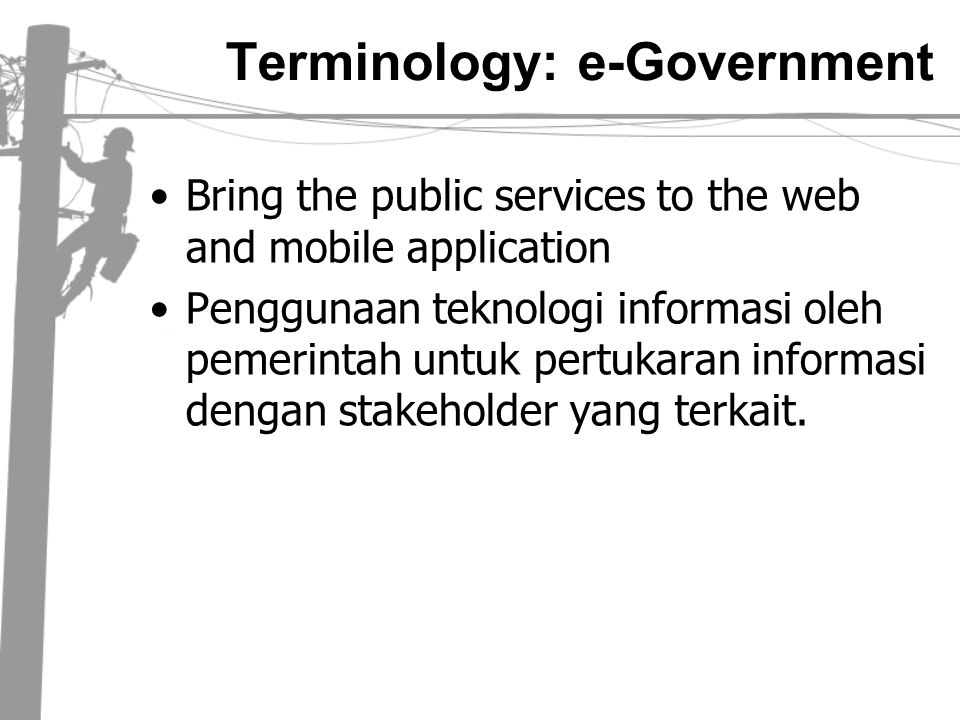 Terminology: e-Government