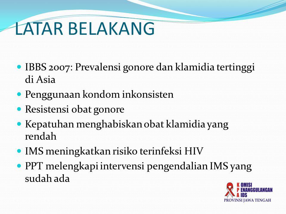 LATAR BELAKANG IBBS 2007: Prevalensi gonore dan klamidia tertinggi di Asia. Penggunaan kondom inkonsisten.