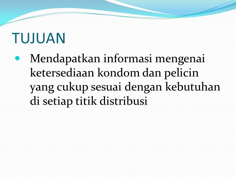 TUJUAN Mendapatkan informasi mengenai ketersediaan kondom dan pelicin yang cukup sesuai dengan kebutuhan di setiap titik distribusi.