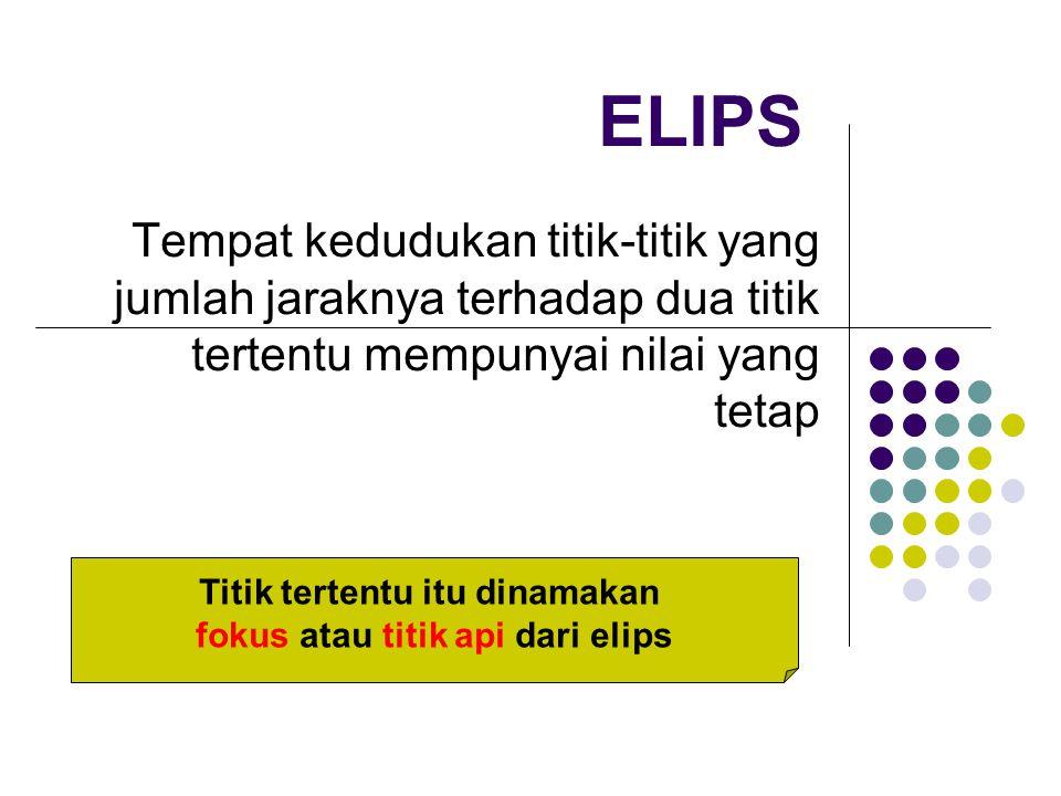 Titik tertentu itu dinamakan fokus atau titik api dari elips