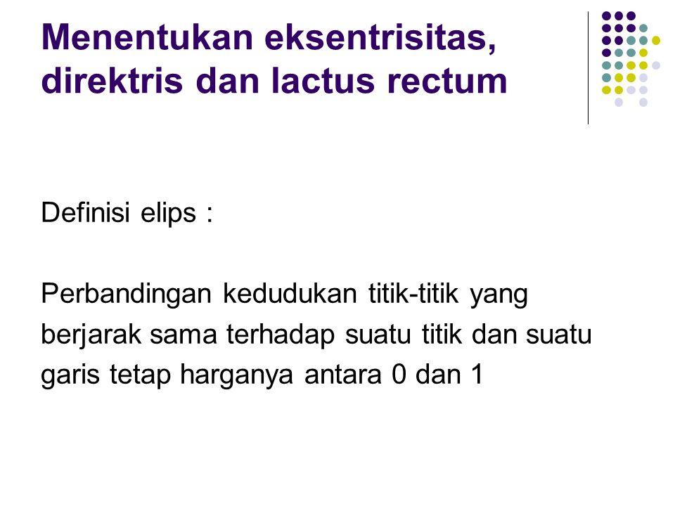 Menentukan eksentrisitas, direktris dan lactus rectum