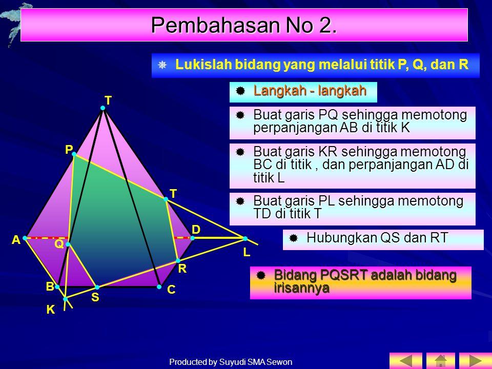 Pembahasan No 2. Lukislah bidang yang melalui titik P, Q, dan R