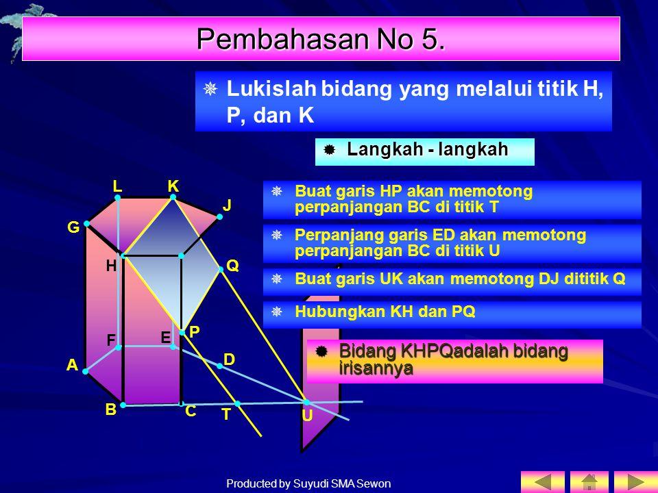 Pembahasan No 5. Lukislah bidang yang melalui titik H, P, dan K