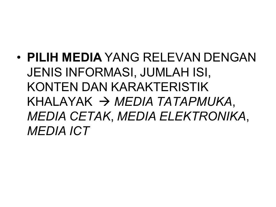 PILIH MEDIA YANG RELEVAN DENGAN JENIS INFORMASI, JUMLAH ISI, KONTEN DAN KARAKTERISTIK KHALAYAK  MEDIA TATAPMUKA, MEDIA CETAK, MEDIA ELEKTRONIKA, MEDIA ICT