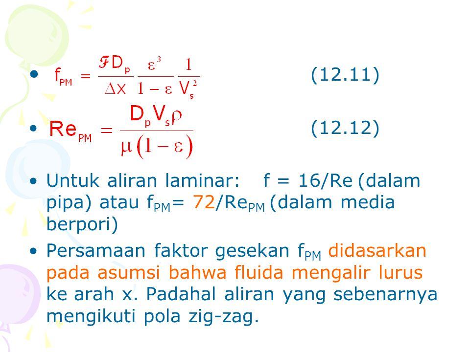 (12.11) (12.12) Untuk aliran laminar: f = 16/Re (dalam pipa) atau fPM= 72/RePM (dalam media berpori)